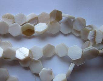 Off White/Beige Mother of Pearl Shell Hexagon Beads 12-14mm 7 Beads
