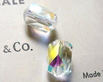 Vintage 70s AB transparent swarovski crystal Pearl 12x8mm