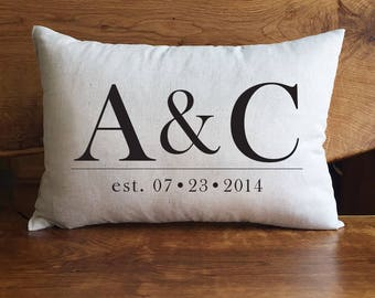 Personalized Wedding Pillow, Personalized Pillow, Monogrammed Pillow With Wedding Date, Anniversary Pillow, Cotton Anniversary, Peronalized