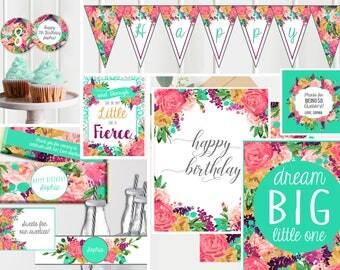 Printable Girls Birthday Party- Floral Boho - Printable Decorations - Girls Birthday Party - Instant Download Digital