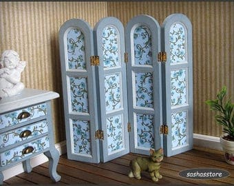 Miniature dollhouse room divider, screen 1:12 miniature furniture