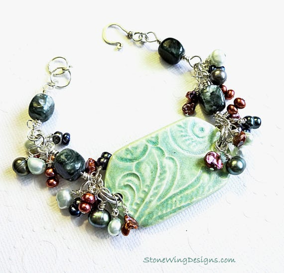 Seraphinite, Pearls and Artisan Ceramic Bracelet in Green and Rose