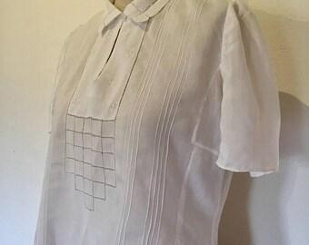ON SALE Vintage 30s White Cotton Blouse