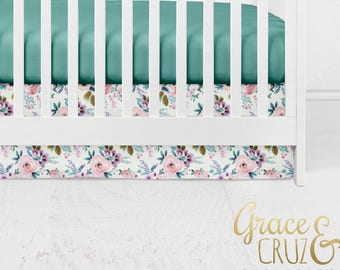 Watercolor Floral Roses Teal Puple Pink Aqua Coral - Boppy Cover + Changing Pad Cover + Crib Sheet + Rail Cover + Crib Skirt or Blanket