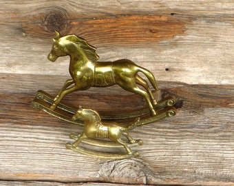 2 Brass Rocking Horses Solid Brass Rocking Horse 1970's Home Decor Vintage Nursery Decor Farmhouse Ranch Decor