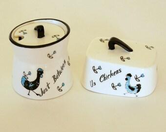 Vintage Breakfast Set, Ceramic Butter Dish, Japan Jam Jar, Between Us Chickens, Kitschy Kitchen Decor