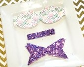 READY to SHIP Wool Felt 2.5 inch chunky bow  DIY  sweet posies with lavender glitter tail and center Set of 2