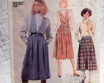 McCall's 2655 Vintage 80s Sewing Pattern Skirt, Surplice Bib, Pockets,Pleats Size 10-14