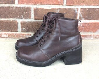 vintage 90s brown LEATHER club kid PLATFORM BOOTS grunge 8.5 raver shoes ankle heel chunky goth