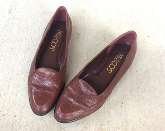 vtg 80s BROWN LEATHER Wingtip OXFORDS flats 6.5 preppy boho shoes loafers