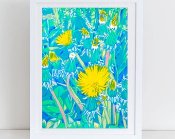 Dandelion bouquet art - flower serigraph - dandelion art - floral print  - blowball painting - blowball screenprint  - blowball art print