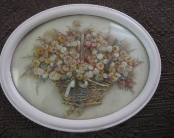 Dried Flower Framed Wall Art Oval Convex Glass Pink Frame Dated 1927