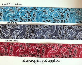 Wide Bandana Grosgrain Ribbon, Western style, Pacific Blue, Denim and Red, 3 YARDS, 1.5 in. wide, Paisley, Country Wedding, Hair Bow Ribbon