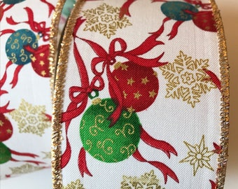 Christmas Ornaments Ribbon, White with Glitter Gold Edge, 2 YDS, Wired and Wide, Red, Green, Blue Ball Ornaments, Glitter Gold Stars, Wreath