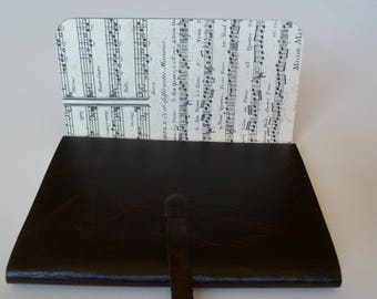 Leather Sketchbook Leather Journal Travel Journal. Dark Brown Leather with Copper Veining. Lined with a Printed Music Score Design.