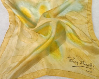 "Small Hand Painted  Vintage Silk Scarf France  19"" X 20""  #223"