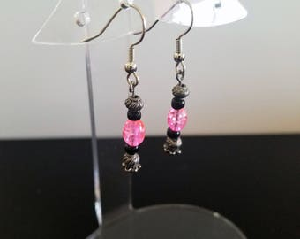 Cute and Simple Earrings with Pink, Black and Silver Colored Beads