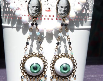FREE SHIPPING Addams Family Uncle Fester Handmade Resin Chandelier Earrings - Addams Family Jewelry - Gothic Earrings - Eyeball Earrings