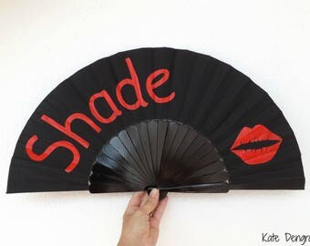 Lipstick Kiss Shade Black SIZE OPTIONS Hand Fan Folding Wooden Handheld Red and Black with a Large Lipstick Lip Kiss Print Painted