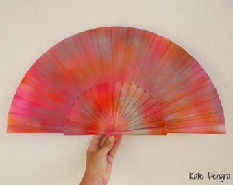 Pink Orange Silver Fizz Iridescent Scale Shimmer SIZE OPTIONS Handheld Wood Fabric Wooden Flamenco Fan by Kate Dengra Spain