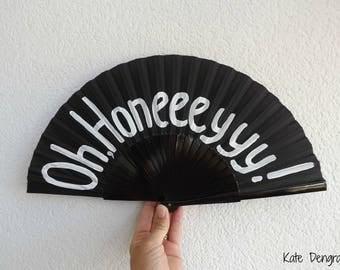 Oh Honeeeyyy Black White 24cm Hand Fan Folding Wooden Handheld Hand Painted by Kate Dengra Spain