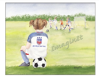 Girl's Soccer Print - 8x10/5x7  -  Team USA - Personalized on request