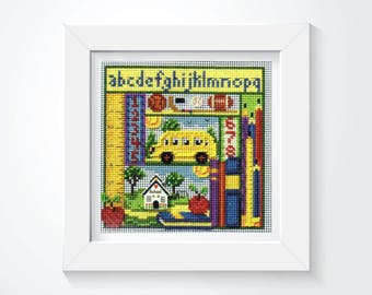 Cross Stitch Kit School Days 5 x 5 inches, Kids Cross Stitch, School Cross Stitch, School Bus, Buttons and Beads Mill Hill Cross Stitch