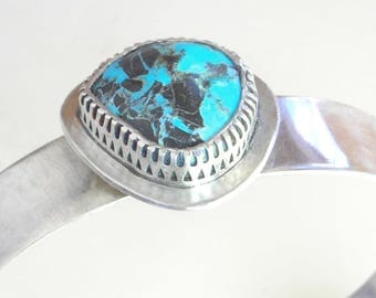 Nevada Turquoise Cuff, Gallery Bezel, Sterling Silver, Robins Egg Blue Turquoise Cab, Locally Mined and Polished, Ethical Stone, Made in USA
