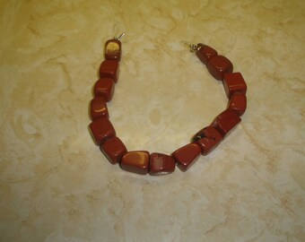 vintage necklace rust glass stone marbled