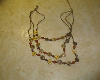 vintage necklace triple strand glass beads goldtone