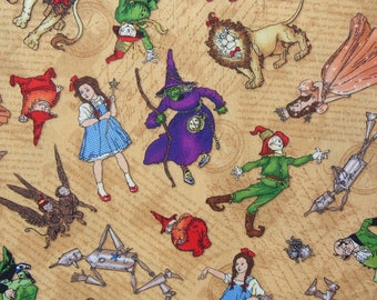 Magic of Oz Fabric, Dorothy and Toto, Glinda, Scarecrow, Tinman, Cowardly Lion, Powerful Oz, Wicked Witch, Flying Monkeys, By the Yard