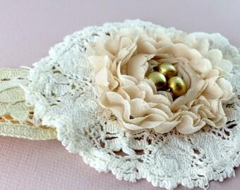 Beaded bridal vintage lace headband. Vintage doily wedding headpiece in white and peach. Shabby chic bohemian bridal headband.