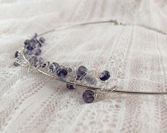 OOAK boho wedding choker with tiny blue crystals. Bridal crystal necklace. Handmade blue crystals. Bohemian wedding. Artisan necklace.