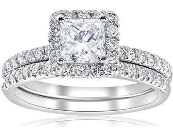 Princess Halo Diamond Engagement Ring Set GIA 1 5/8ct Certified Princess Cut Diamond Engagement Ring Set 14k White Gold
