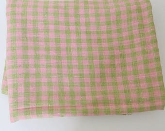Linen Blend Fabric Pink Green Check Home Decor Upholstery 3+ Yards 985b