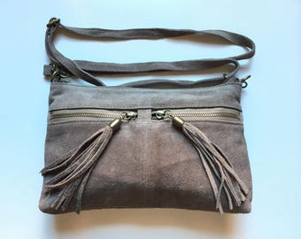 BOHO  suede leather bag in taupe BEIGE. Soft natural genuine leather bag with tassels. Cross over suede bag, festival bag