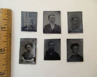 6 antique miniature tintype photos - 1800s, for repurposing, set#1