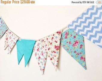 ON SALE Sweet Blue Bunting, Wedding Fabric Banner, Garland, Bunting Flags, Floral, Polka Dots  - 3 yards