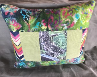 Roadrunner Pillow - Photo Transfer - Decorative Pillow -Nursery Pillow - Bird Lovers