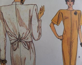 TAPERED DRESS Pattern • Vogue 9675 • Miss 8-12 • Loose Fit Dress • Tie Back Overlay • Sewing Patterns • Vintage Patterns • WhiletheCatNaps