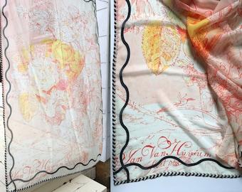 Scarf, Chiffon, Large Wrap, Shawl || Sketchbook || Flowers Pattern || Cool, Fun, Graphic, Chiffon, Lightweight, Airy, Floaty