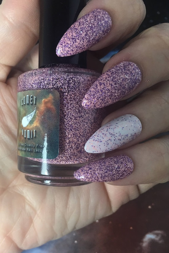 Far Out! Glitter Polish vegan pink purple white matte thermal