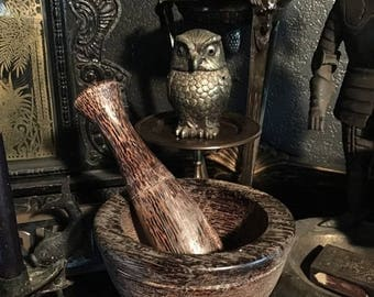 Vintage Apothecary Wooden Palm Tree Mortar and Pestle at Gothic Rose Antiques