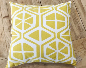 "Navy or Yellow Pillow Cover 16"" x 16"" Pillow - with or without pillow insert - Orange Slice Style"