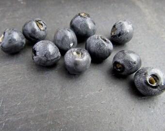 10 Small Black Snakeskin Glazed Clay Beads
