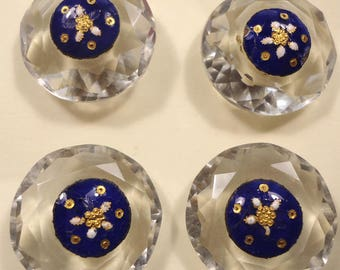 Set of 4 antique buttons - enamel on cut glass (imperfect)   (Ref D155)