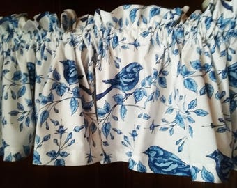 """BLUE BIRDS of happiness Valance or Panel Cotton  Print Window treatment 12"""" 14"""" 18"""" 24"""" 32"""" Long lined or unlined"""