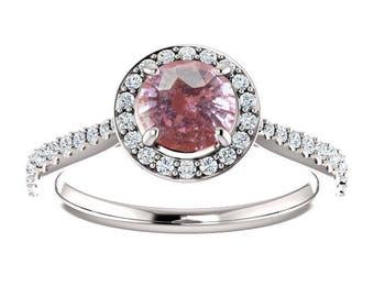 1.37ct unheated natural round peach pink sapphire engagement ring SKU RIANA 2506