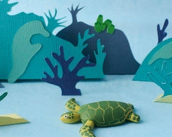 Sea turtle brooch - Great Barrier Reef creatures - Green and Yellow - Gift for nature lovers