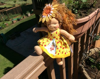 """Country Girl, ladybugs, 10-12"""" slim Waldorf doll clothes"""